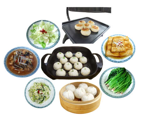 Plenty of dumplings, dim sum, tofu and vegetables on white background