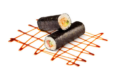 Sushi or kimbap with seafood, rice and vegetables seaweed rolls on white background