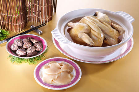 New Year's dinner series imperial shark fin soup cup with chicken in asia Banco de Imagens