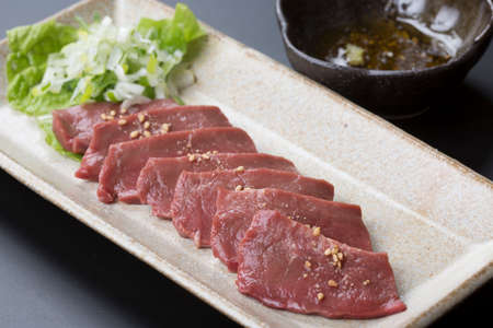 stabbing: Beef heart stabbing Salt with wasabi and Ginger soy sauce on platter