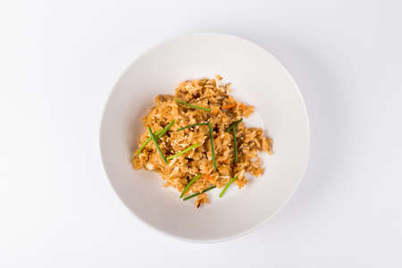 Hot Thai spicy fried rice on white plate background