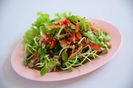 Special salad of minced beef, lectuce, cumin and herbs on white plate