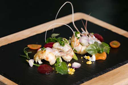 Steamed shrimp with Peperomia pellucida salad Stock Photo