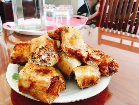 Fried spring rolls for Tet holiday in vietnam