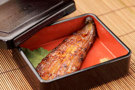 oily: Roasted of fillet fish in bento Stock Photo