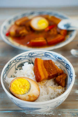 rou: Vietnamese braised pork in coconut water with rice for lunch Stock Photo