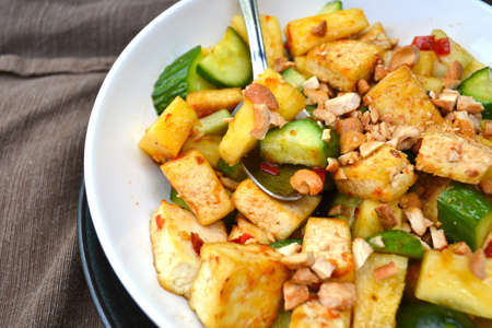 Rojak salad with tofu, cucumber and cashew