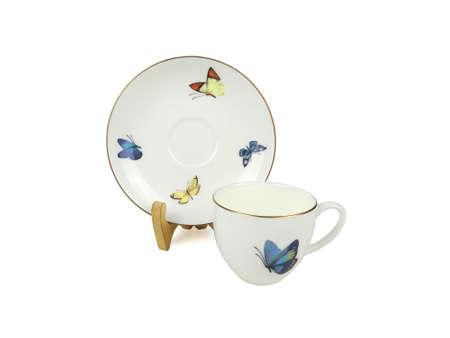Chino conjunto de tazas de té sobre fondo blanco