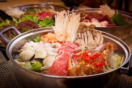 Korean seafood hot pot with sea crab, clams, shrimp and octopus Stock Photo