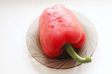 Red bell pepper on a plate