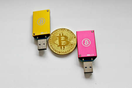 Bitcoin, digital gold, physical bitcoin, chip Banco de Imagens