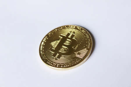 Bitcoin, digital gold, physical bitcoin, chip Stock Photo