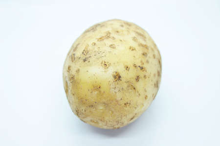 Raw beautiful potato is located on a white background