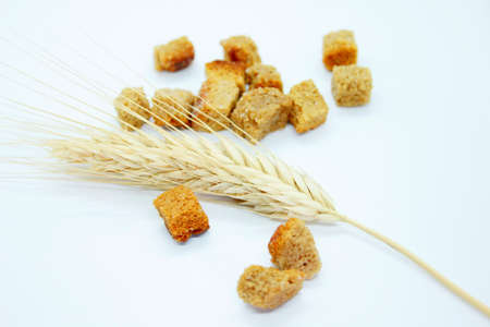 Salted rye crackers and rye earare are located on a white background