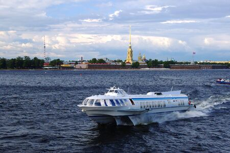 Ship for sailing on the background of the historical center of St. Petersburg Russia