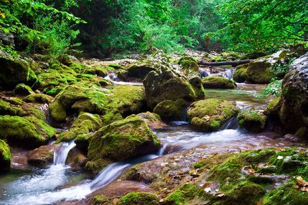 Mountain River in the Grand Canyon of Crimea, Ukraine photo