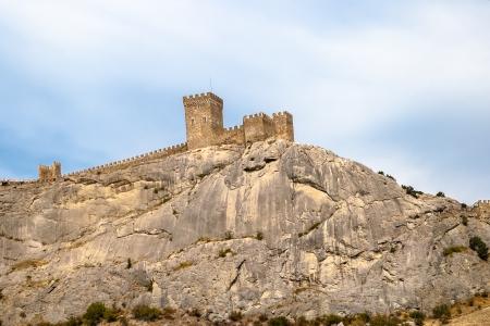 sudak: The Genoa fortress - sight on peninsula Crimea  Sudak, Crimea, Ukraine Stock Photo