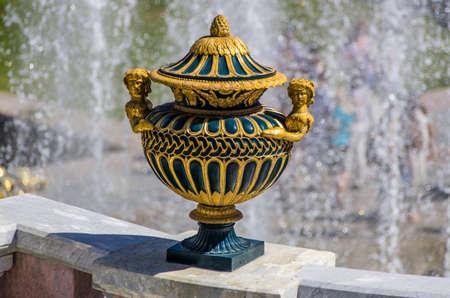 peterhof: Vase sculpture closeup in Peterhof, Saint-Petersburg, Russia Stock Photo