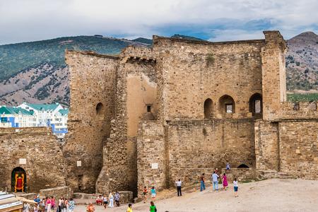 View on the Genoa fortress in Crimea  Sudak, Crimea, Ukraine