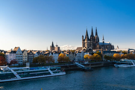 rein: View on Keln landmarks and embankment of Rein river, Germany Editorial