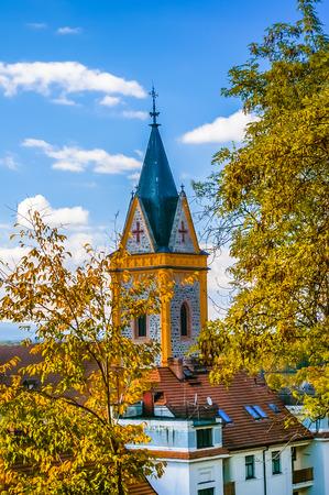 nad: Church in Hluboka nad Vltavou city city at sunny day, Czech Republic Stock Photo