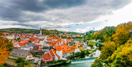 View on red roofs in Cesky Krumlov, Czech Republic