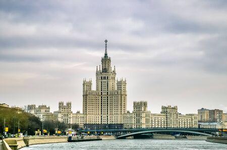 kotelnicheskaya embankment: View on skyscraper on the Kotelnicheskaya embankment in Moscow, Russia