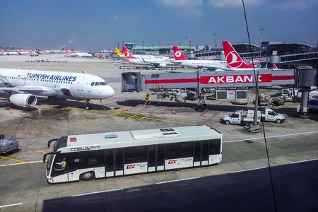 ataturk: Top view on aircraft in Istanbul Ataturk Airport, Turkey