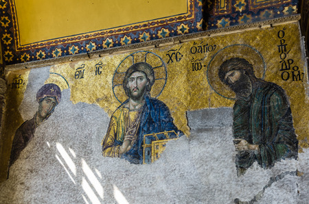 aya sofia: View on mural in Aya Sofia Temple in Istanbul, Turkey Editorial