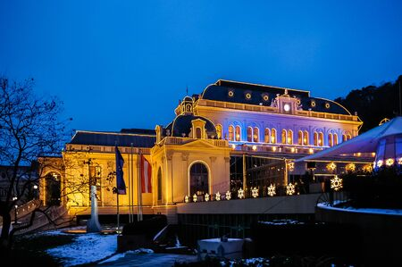 wien: Night view on casino at winter in Baden bei Wien, Austria. It is one of the biggest casinos in Europe. Opened in 1934.
