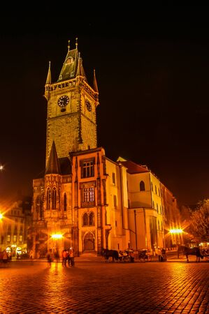 old town guildhall: PRAGUE CZECH REPUBLIC  OCTOBER 08: Night view on Powder Tower on October 08 2008 in Prague Czech Republic Editorial