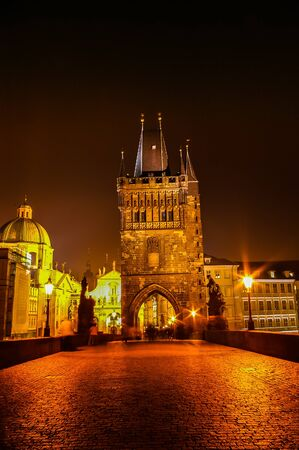 charles bridge: PRAGUE CZECH REPUBLIC  OCTOBER 08: Night view on Charles Bridge on October 08 2008 in Prague Czech Republic