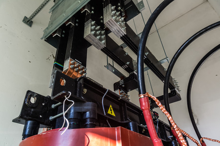 busbar: Closeup view on transformer on the site