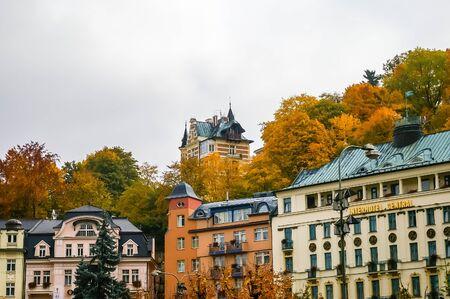 karlovy: KARLOVY VARY CZECH REPUBLIC  OCTOBER 08: View on hotels on October 08 2008 in Karlovy Vary Czech Republic