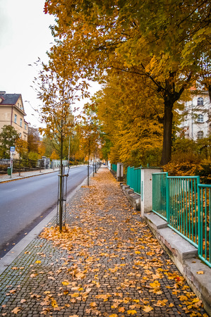 karlovy vary: Street view on autumn day in Karlovy Vary Czech Republic Stock Photo