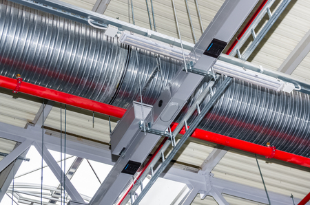 damper: Pipes and other engineering services in industrial building