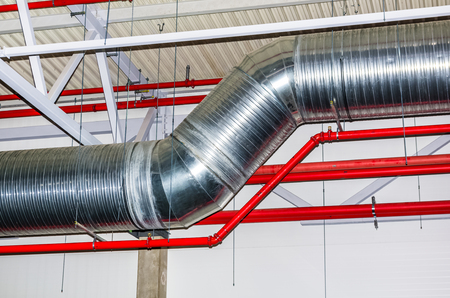 busbar: Pipes and other engineering services in industrial building