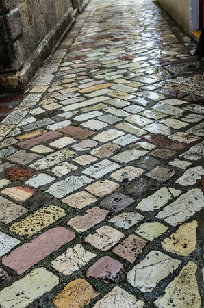 road paving: Wet road paving after rain in Kotor, Montenegro