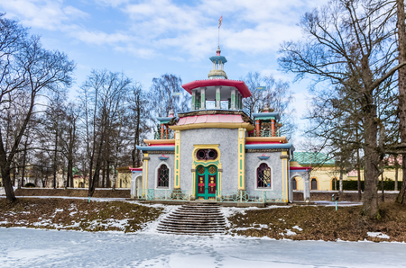 city pushkin: Day view on Chinese Pavilion in Catherine Park in Tsarskoye Selo (Pushkin), Russia