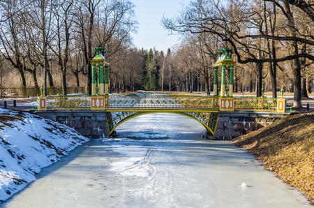 city pushkin: Day view on Small Chinese Bridge in Alexander Park in Tsarskoye Selo (Pushkin), Russia