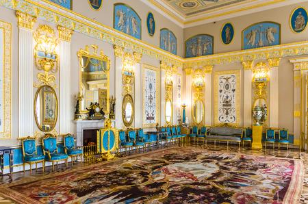 tsarskoye: Interior of Catherine Palace in Tsarskoye Selo (Pushkin) in Russia Editorial