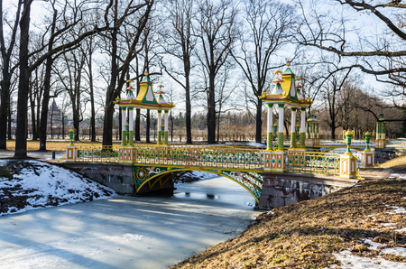 selo: Day view on Small Chinese Bridge in Alexander Park in Tsarskoye Selo (Pushkin), Russia