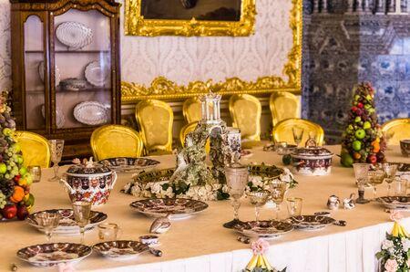 selo: Antique dinner table in Catherine Palace in Tsarskoye Selo (Pushkin) in Russia