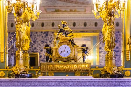 tsarskoye: Antique clock in Catherine Palace in Tsarskoye Selo (Pushkin) in Russia