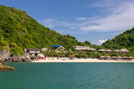Amazing view on sand beach and resort on Monkey island in Halong bay, Vietnam