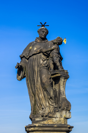 Statue on Chales Bridge in Prague, Czech Republic Editöryel
