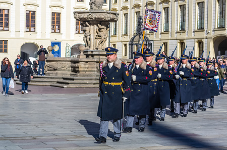 PRAGUE, CZECH REPUBLIC - FEBRUARY 15: Servicemens from the Prague Castle Guard march to the ceremony of changing the guard of honor at February 15, 2019 in Prague, Czech Republic Editöryel