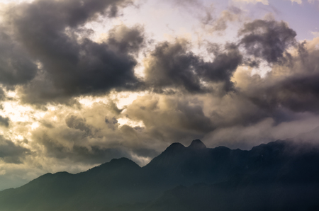 Sunrise view on mountain and clouds in Sapa, Vietnam