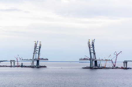 Scenic view on bridge construction in seaport of Saint-Petersburg, Russia