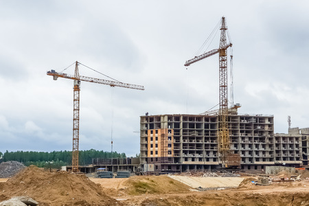 View on residential building construction site in Sertolovo, Leningrad region